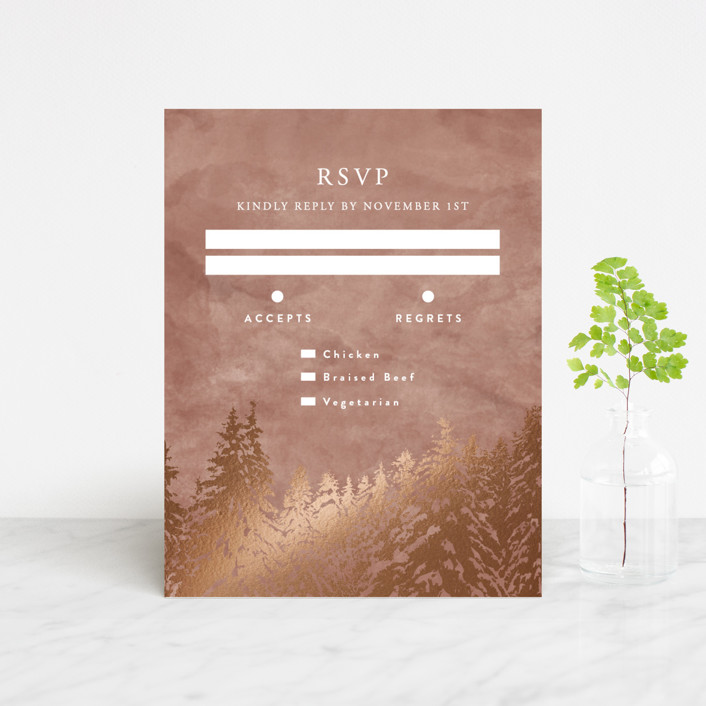 """Snowy Pines"" - Rustic Foil-pressed Rsvp Cards in Pearl by Gratia Design Co.."