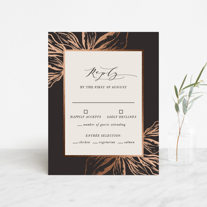 """""""Forevermore"""" - Rustic Foil-pressed Rsvp Cards in Midnight by Melinda Denison."""
