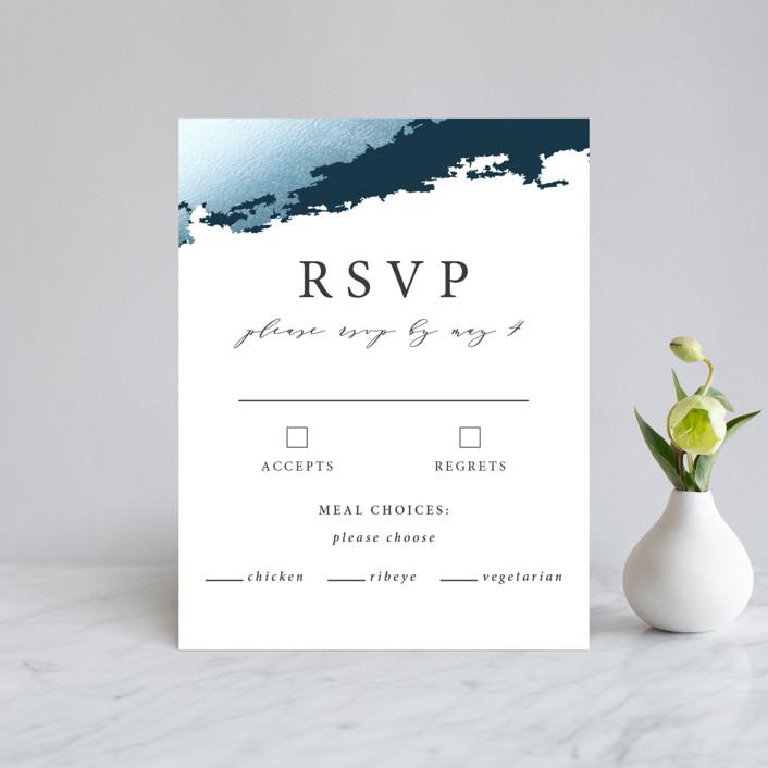 """Gilded Oceans"" - Foil-pressed Rsvp Cards in Ocean by Christie Garcia."