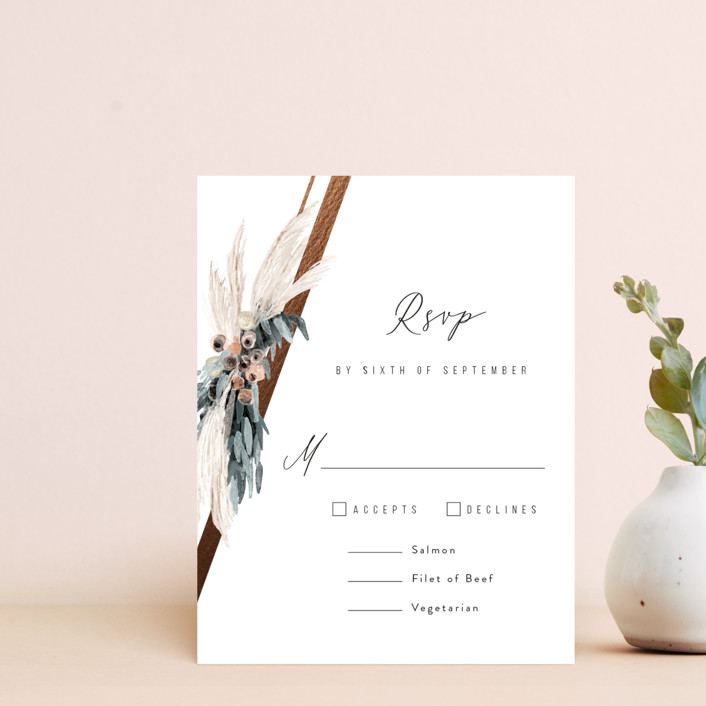 """""""triangle arch"""" - Bohemian Foil-pressed Rsvp Cards in Lace by Cass Loh."""