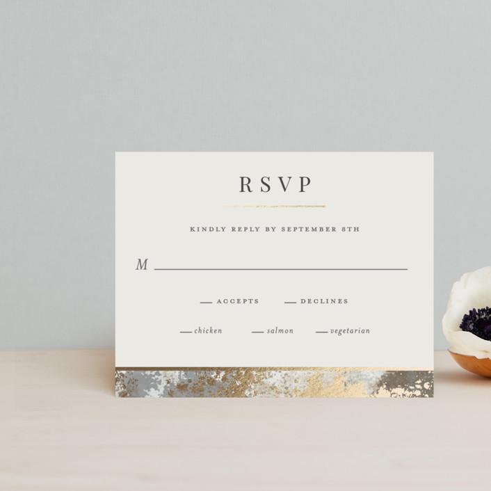 """""""Modern Glitz"""" - Foil-pressed Rsvp Cards in Stone by Katherine Moynagh."""