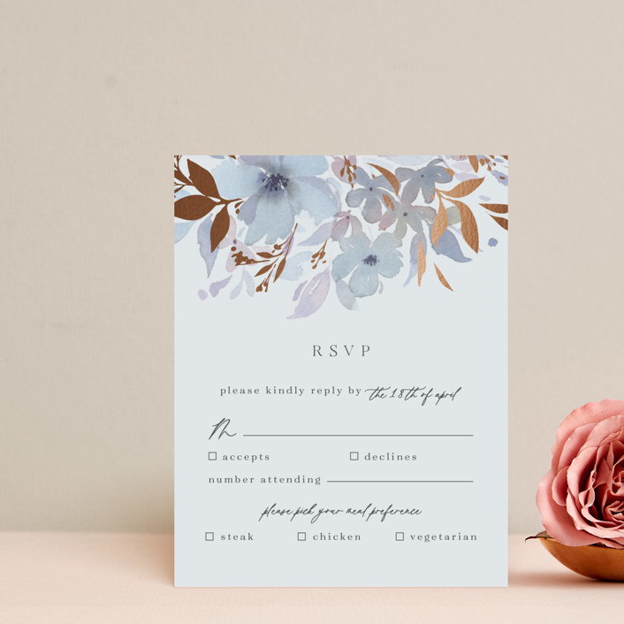 """Frosted Blossoms"" - Foil-pressed Rsvp Cards in Frost by Four Wet Feet Studio."