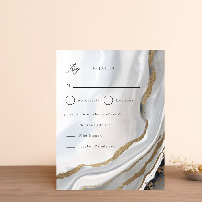 """""""Luxe"""" - Foil-pressed Rsvp Cards in Onyx by Elly."""