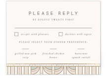 This is a beige rsvp card by Anastasia Makarova called art deco mood with foil-pressed printing on signature in standard.
