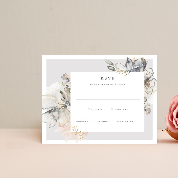 """Vitrage"" - Foil-pressed Rsvp Cards in Granite by Petra Kern."