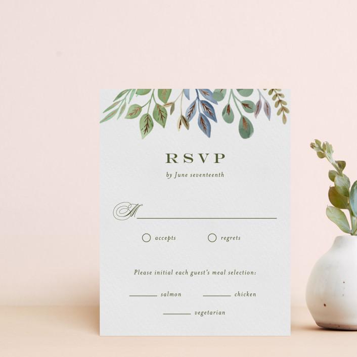 """""""Botanical Frame"""" - Foil-pressed Rsvp Cards in Garden by Jana Volfova."""