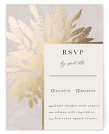 This is a beige rsvp card by Iveta Angelova called Winter Bouquet with foil-pressed printing on signature in standard.