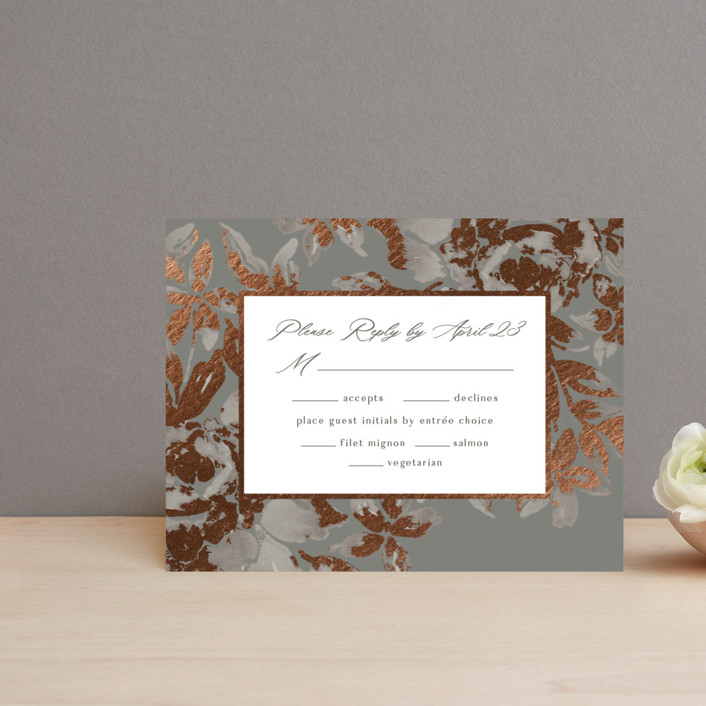 """Wedding Royale"" - Foil-pressed Rsvp Cards in Steel by Chris Griffith."