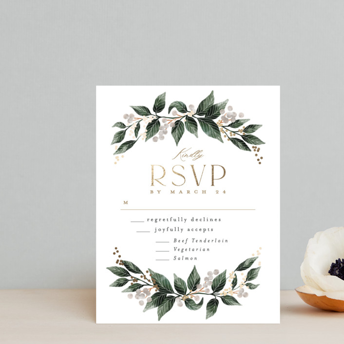 """""""Vine and Berry Frame"""" - Foil-pressed Rsvp Cards in Champagne by Alethea and Ruth."""