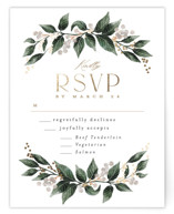 This is a brown rsvp card by Alethea and Ruth called Vine and Berry Frame with foil-pressed printing on signature in standard.