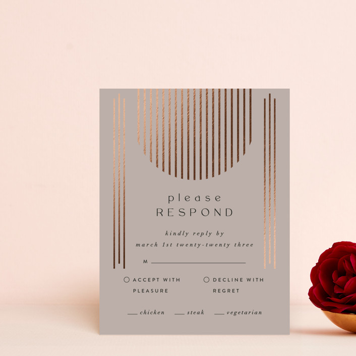 """""""Minimalist Deco"""" - Modern Foil-pressed Rsvp Cards in Fawn by Nazia Hyder."""