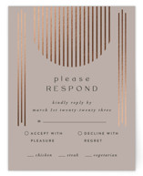 This is a brown rsvp card by Nazia Hyder called Minimalist Deco with foil-pressed printing on signature in standard.