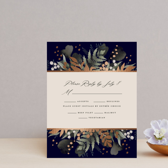 """""""wedding nosegay"""" - Foil-pressed Rsvp Cards in Marine by Chris Griffith."""