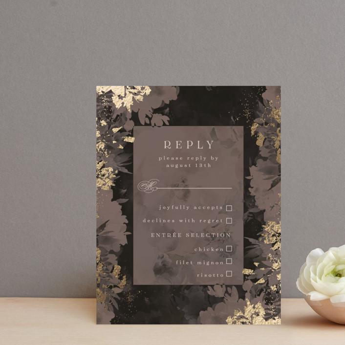 """Tuxedo Blooms"" - Foil-pressed Rsvp Cards in Mushroom by Grace Kreinbrink."