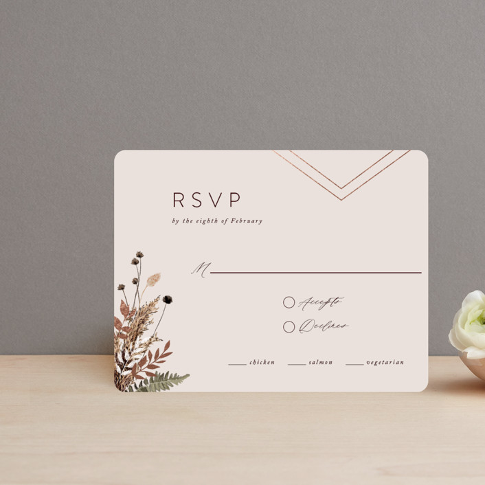 """""""dried foliage"""" - Rustic Foil-pressed Rsvp Cards in Burgundy by Cass Loh."""