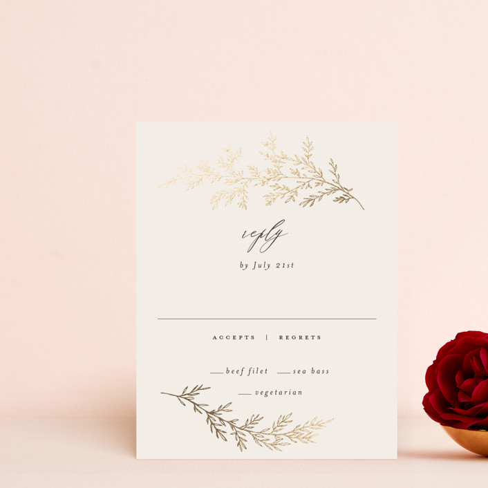 """""""entwined branches"""" - Foil-pressed Rsvp Cards in Cream by Carolyn Nicks."""