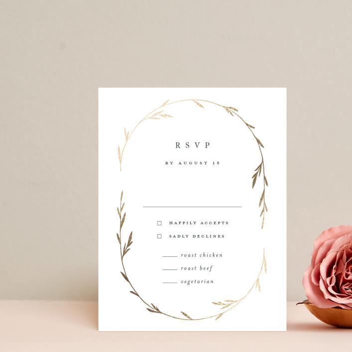"""""""Oval Botanical"""" - Modern Foil-pressed Rsvp Cards in Navy by Kelly Schmidt."""