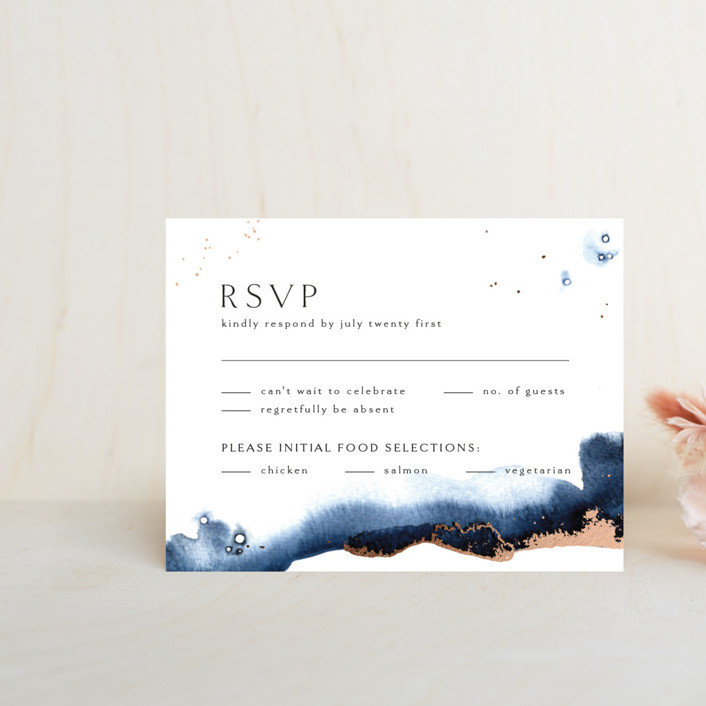 """Indigo"" - Foil-pressed Rsvp Cards in Storm by Anastasia Makarova."
