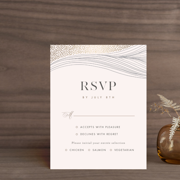 """Flowing Stripes"" - Modern Foil-pressed Rsvp Cards in Pebble by Monika Drachal."