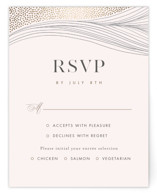 This is a white rsvp card by Monika Drachal called Flowing Stripes with foil-pressed printing on signature in standard.