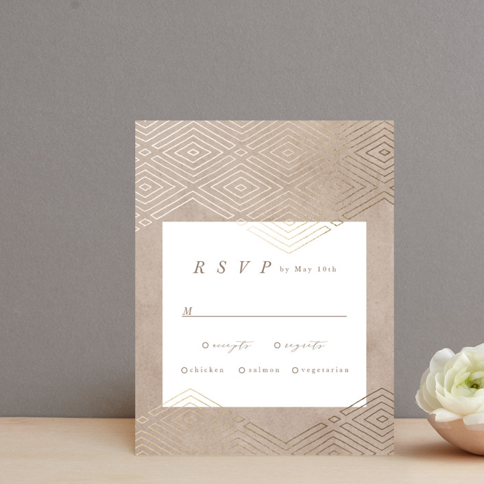 """""""Geometrica"""" - Bohemian Foil-pressed Rsvp Cards in Sand by Owl and Toad."""