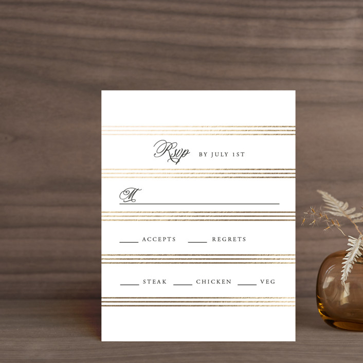 """Luxe Pinstripes"" - Foil-pressed Rsvp Cards in Linen by Jill Means."