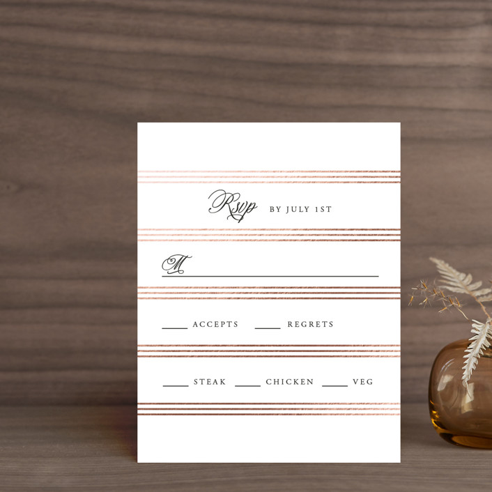 """""""Luxe Pinstripes"""" - Foil-pressed Rsvp Cards in Linen by Jill Means."""