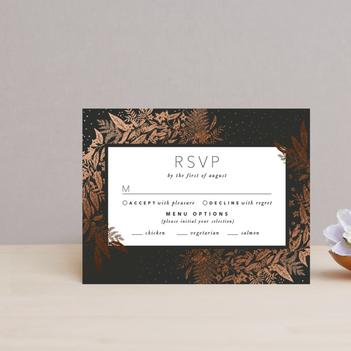"""""""Gather"""" - Foil-pressed Rsvp Cards in Ebony by Leah Bisch."""