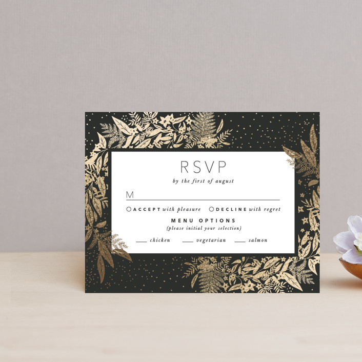 """Gather"" - Foil-pressed Rsvp Cards in Ebony by Leah Bisch."