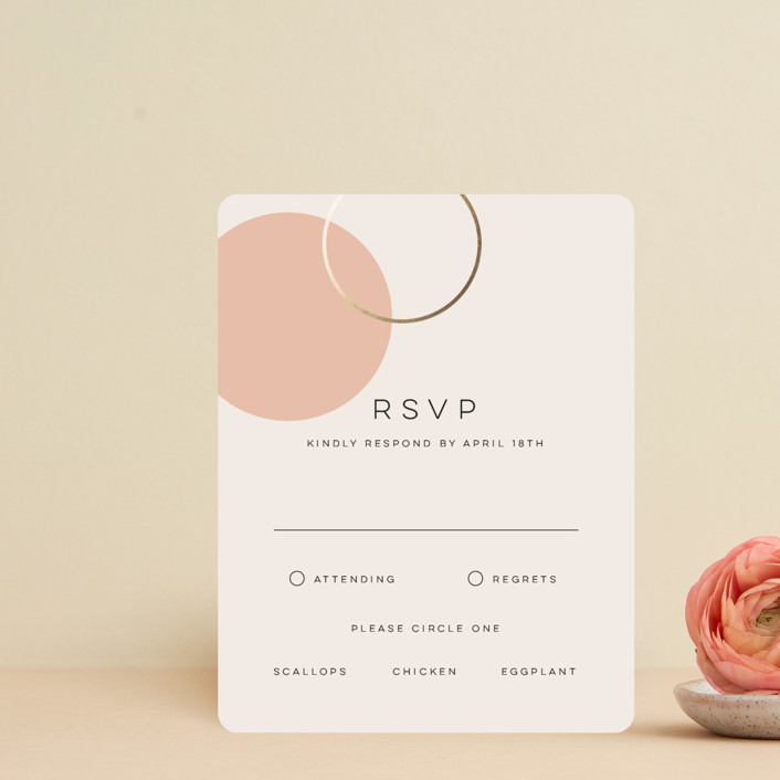 """""""Bauhaus Shapes"""" - Modern Foil-pressed Rsvp Cards in Terracotta by Morgan Kendall."""