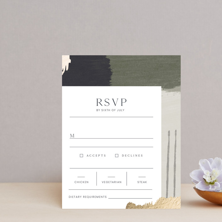 """Textural"" - Modern Foil-pressed Rsvp Cards in Forest Walks by Blustery August."