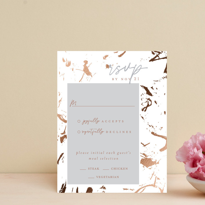 """Heartstrings"" - Modern Foil-pressed Rsvp Cards in Slate by Erin German Design."