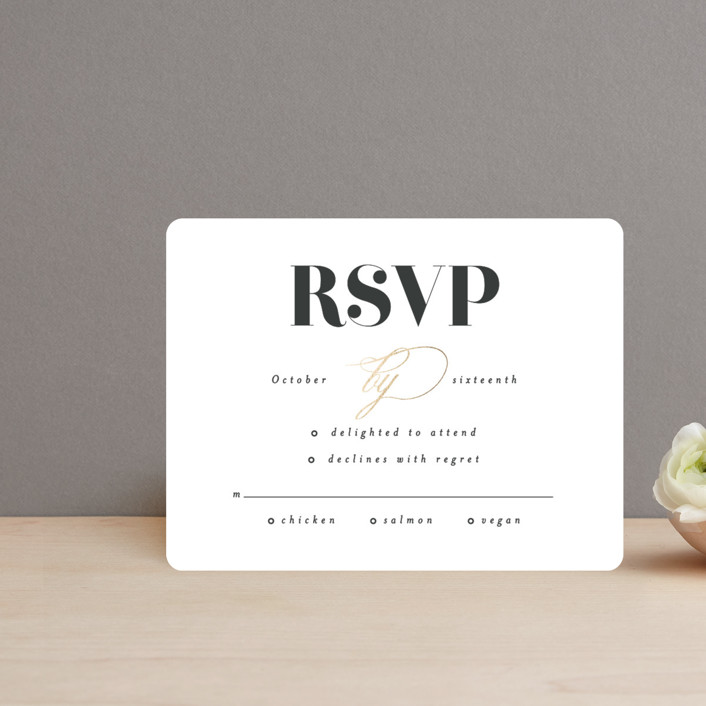 """""""Gallerian"""" - Foil-pressed Rsvp Cards in Cloud by Itsy Belle Studio."""