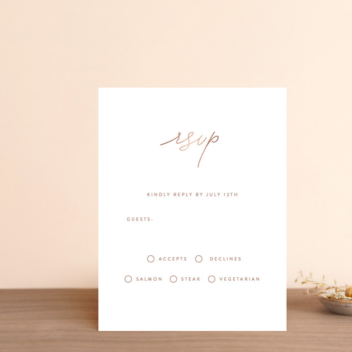 """""""Simple Elegance"""" - Foil-pressed Rsvp Cards in Ebony by Angela Thompson."""
