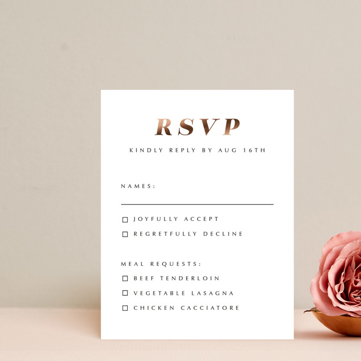 """""""Our Ever After"""" - Foil-pressed Rsvp Cards in Noir by Up Up Creative."""