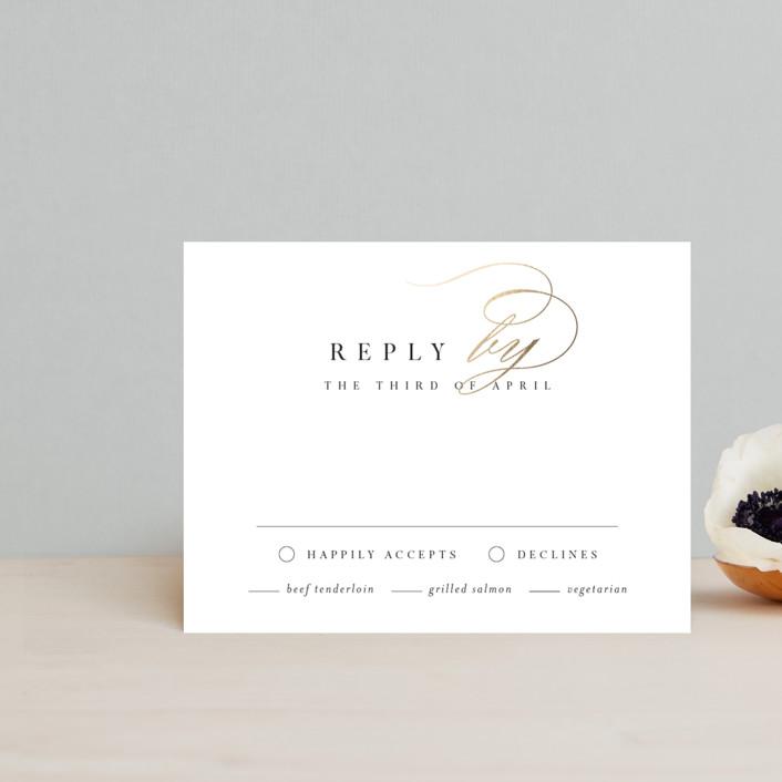 """""""Elegant Monogram"""" - Foil-pressed Rsvp Cards in Ivory by Kelly Schmidt."""