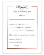 This is a black rsvp card by Kimberly FitzSimons called Preamble with foil-pressed printing on signature in standard.