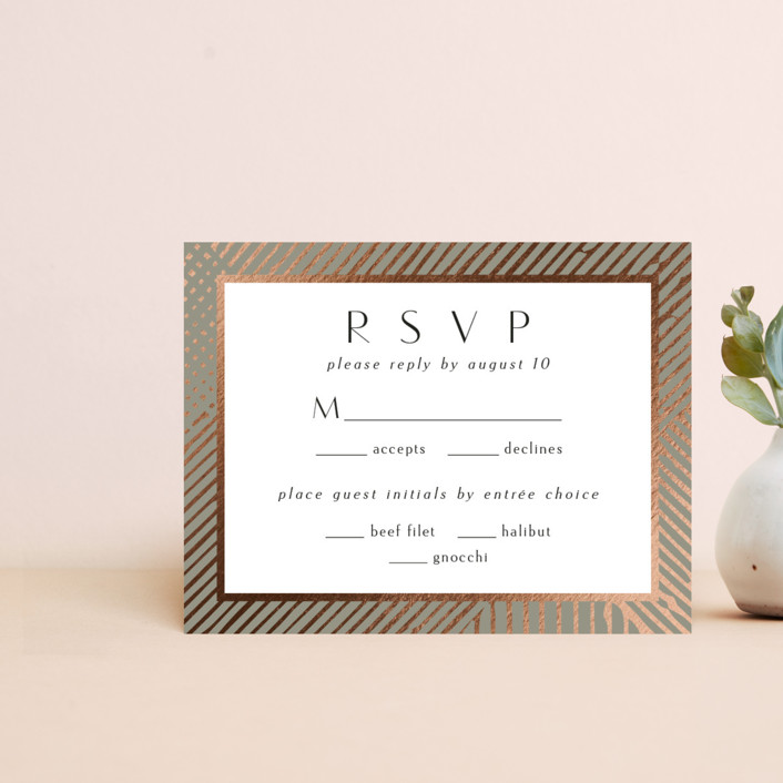 """""""Wedding Lines"""" - Bohemian Foil-pressed Rsvp Cards in Putty by Chris Griffith."""
