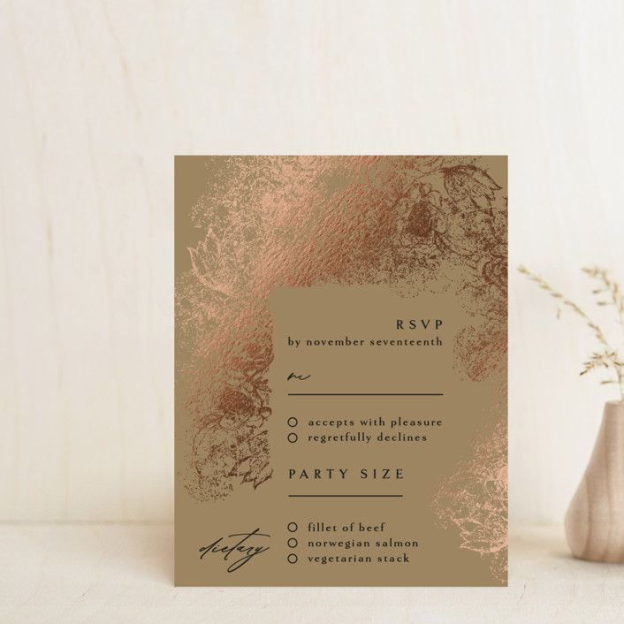 """fairytale dust"" - Foil-pressed Rsvp Cards in Midnight by Phrosne Ras."