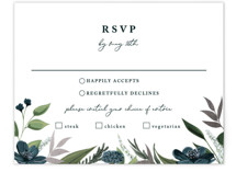 This is a blue rsvp card by Susan Moyal called Soft Greenery with foil-pressed printing on signature in standard.