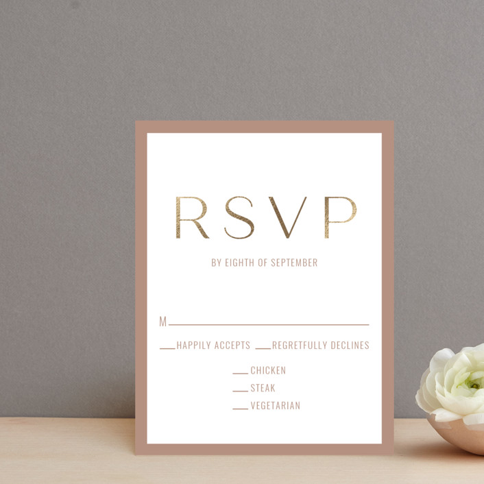 """Eternal Love"" - Foil-pressed Rsvp Cards in Rose Dust by Bliss Design Studio."