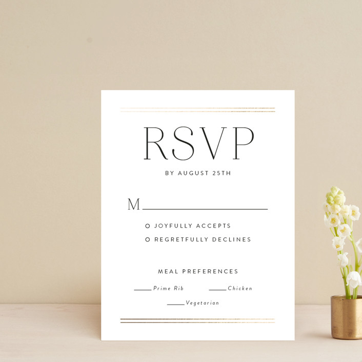 """Aligned"" - Foil-pressed Rsvp Cards in Purity by Susan Asbill."