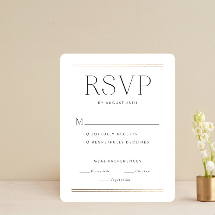 """""""Aligned"""" - Foil-pressed Rsvp Cards in Purity by Susan Asbill."""