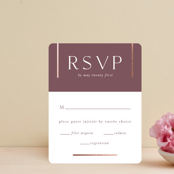 """The Minimalist"" - Foil-pressed Rsvp Cards in Mauve by Jana Volfova."