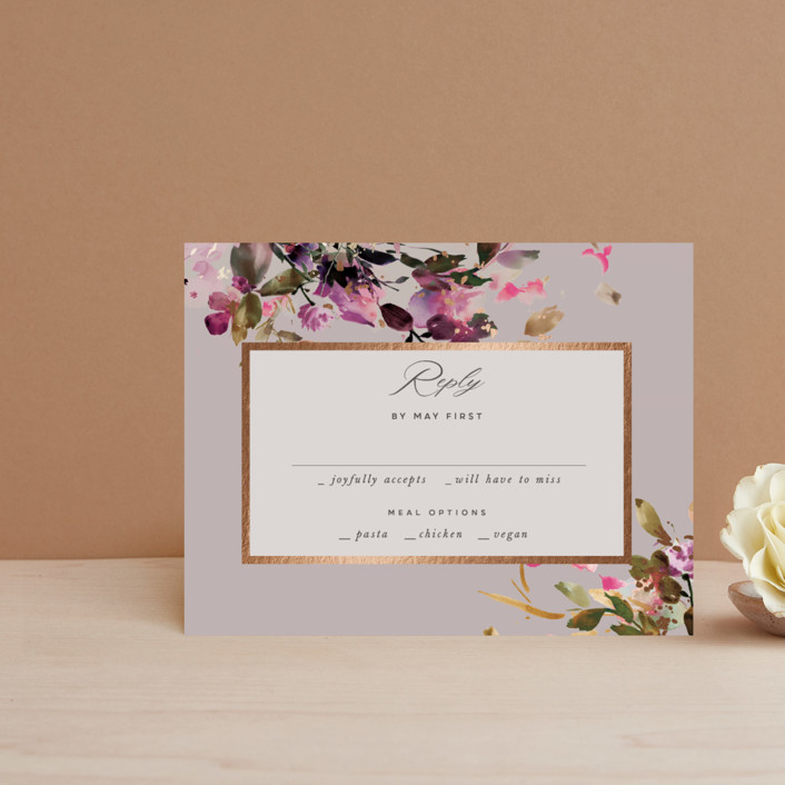 """""""beauti"""" - Foil-pressed Rsvp Cards in Violet by Lori Wemple."""