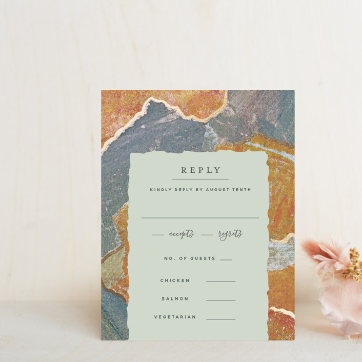 """""""Earth Song"""" - Foil-pressed Rsvp Cards in Sunset Stone by Starry Lane Studio."""