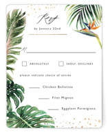 This is a green rsvp card by Elly called Our Paradise with foil-pressed printing on signature in standard.
