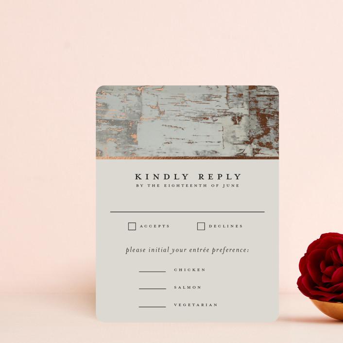 """Gilded birch bark"" - Rustic Foil-pressed Rsvp Cards in Clay by Heather Schertzer."