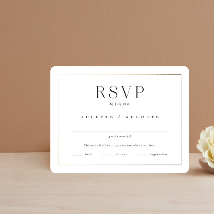 """Entwine"" - Foil-pressed Rsvp Cards in Pearl by Jennifer Postorino."