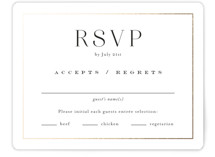 This is a white rsvp card by Jennifer Postorino called Entwine with foil-pressed printing on recycled in standard.